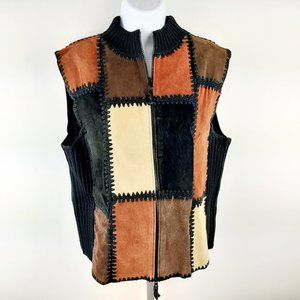 Ambra Women's Leather Patchwork Sweater Vest Size